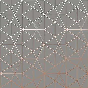 Papier Peint Metro Prisme Geometrique Triangle Charbon Et Cuivre