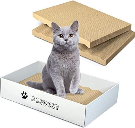 Aibuddy Rascador para gatos, 3 unidades, almohadillas para rascar gatos, de cartón reversible con hierba gatera orgánica [Diseño limpio en el hogar con caja de rascador]: Amazon.es: Productos para mascotas