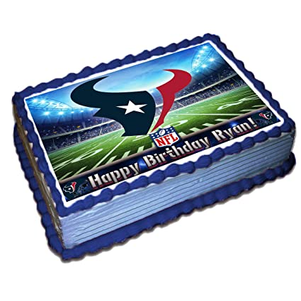 Fantastic Houston Texans Nfl Personalized Cake Topper Icing Sugar Paper 1 4 Birthday Cards Printable Nowaargucafe Filternl