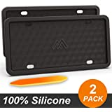 Two Peak Silicone License Plate Frame, License Plate Holder, Rust-Proof, Rattle-Proof, Weather-Proof, Car License Plate…