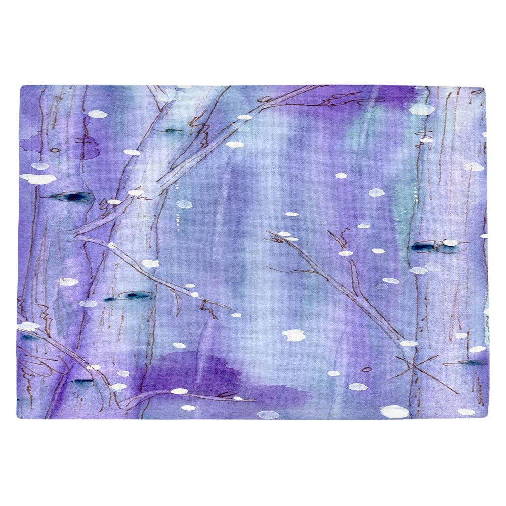 DIANOCHEキッチンPlaceマットby Dawn Derman – ミッドナイト雪in the Aspens Set of 4 Placemats PM-DawnDermanMidnightSnowinAspen2 Set of 4 Placemats  B01EXSK860