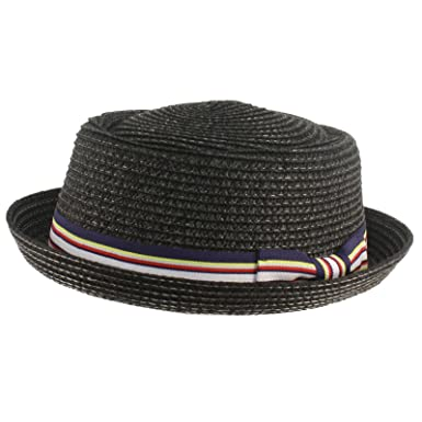 87ea59228e9 Men s Fancy Summer Straw Pork Pie Derby Fedora Upturn Brim Hat Black 56cm  ...