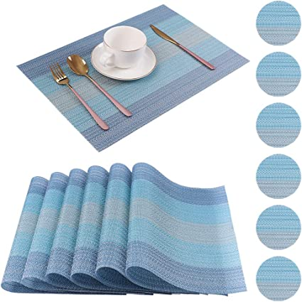 6Pcs Kitchen Place Mat Cup Mat Cutlery Pouches Dining Table Placemats Washable
