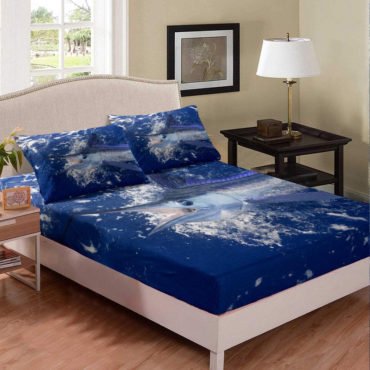 Marlin Swordfish Fitted Sheet Navy Blue Ocean Bed Cover Nautical Deep Sea Fish Bedding Set For Kids Boys Girls Seafood Fishermen Coastal Bedclothes Bedroom Decor With 2 Pillow Cases Queen Size