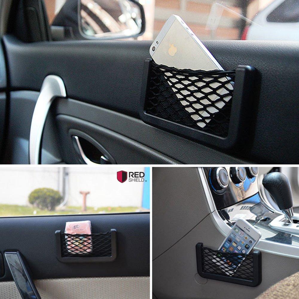 REDshield Car Net Bag Phone Holder Storage Pocket Organizer pens Geat for wallet 2 Pack and MORE! keys