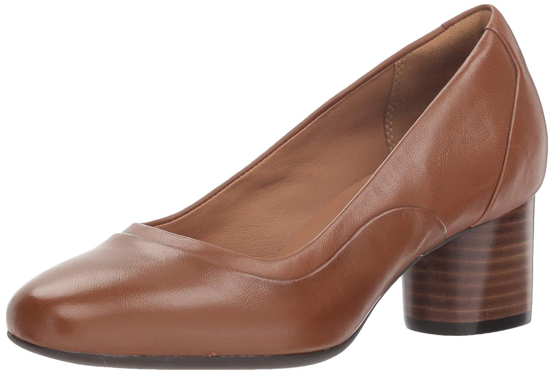 Dark Tan Leather Clarks Womens Un Cosmo Step Block Heel