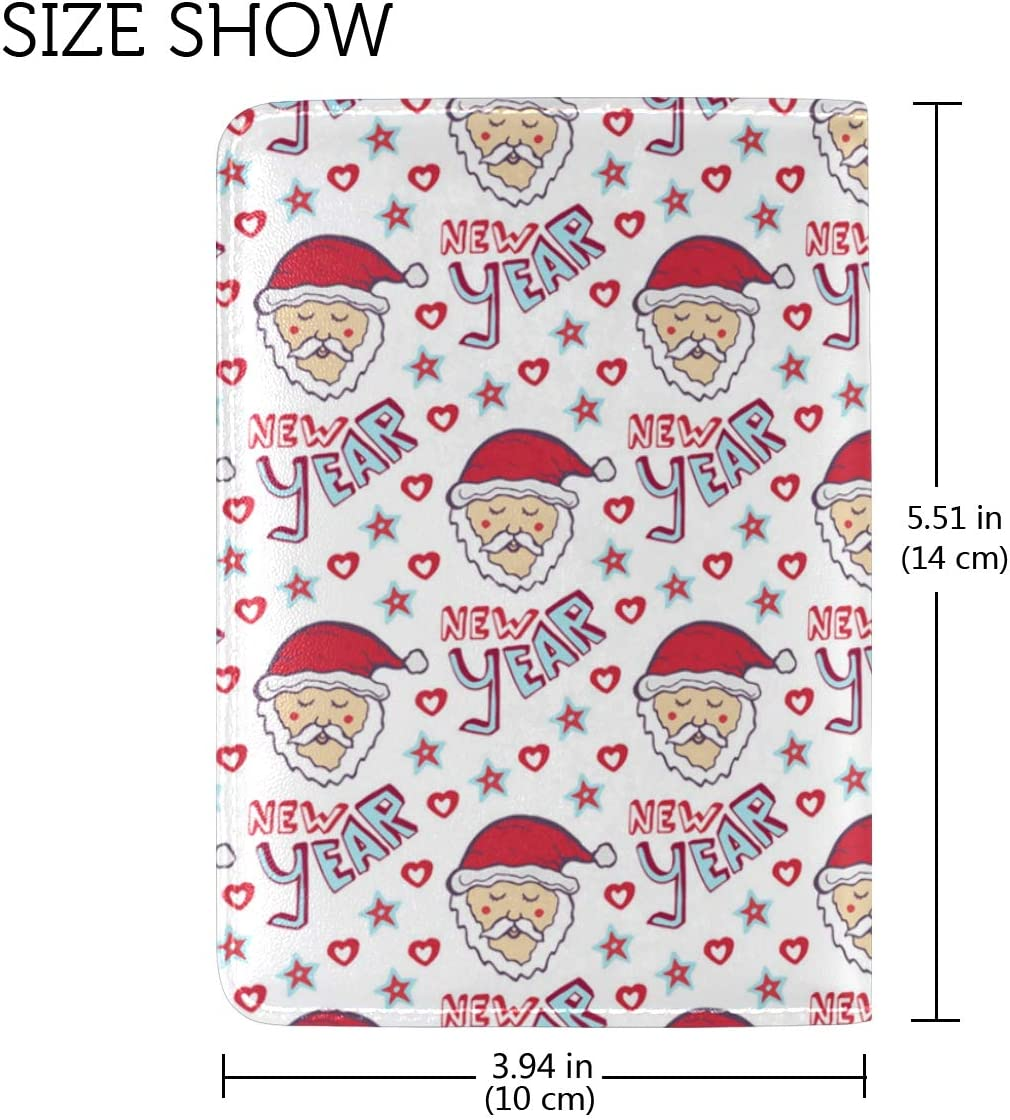 Happy New Year For Santa Claus Leather Passport Wallet for Passport Holder for Safe Trip durable Easy to Carry