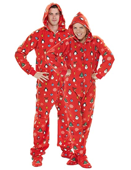 Footed Pajamas - Holly Jolly Christmas Adult Hoodie Drop Seat - Small 2X/Dbl Wide