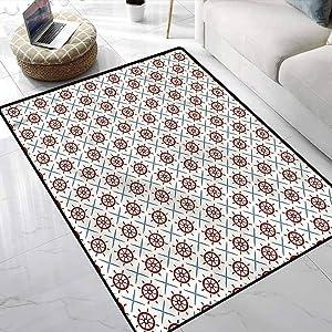 Carpet Ships Wheel,Diagonal Grid Geometry Multi-Color Modern Area Rug for Bedroom Playroom Nursery, Best Shower Gift 3 x 5 Feet