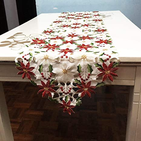 Faylapa Christmas Table Runners 15 X 69 Inch Luxury Embroidered Poinsettia Holly Leaf Table Linens Wedding Christmas Table Decoration