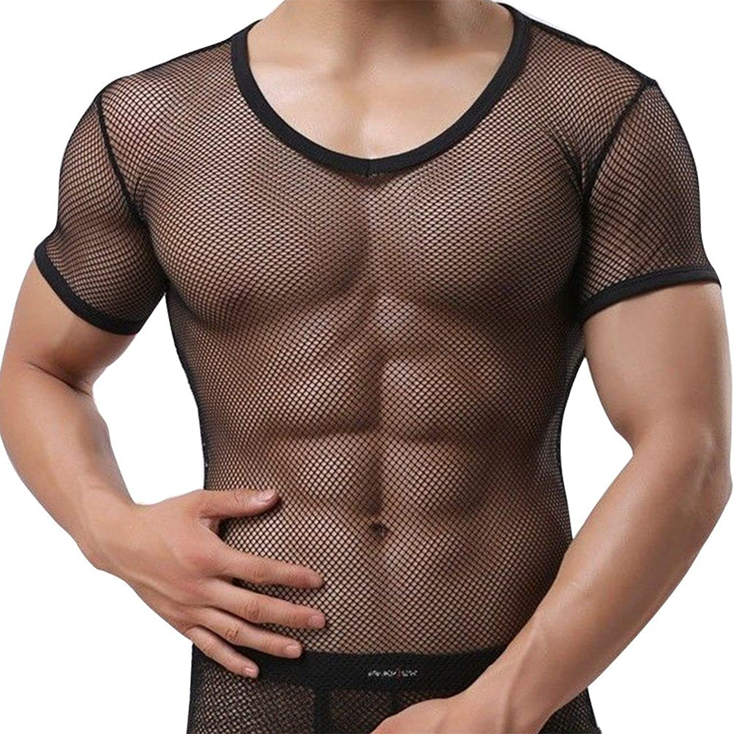 1960s Men's Clothing, 70s Men's Fashion Freebily Mens Sheer Mesh See Through Fishnet Clubwear Vest Shirt Sport Tank Top Undershirt $12.49 AT vintagedancer.com