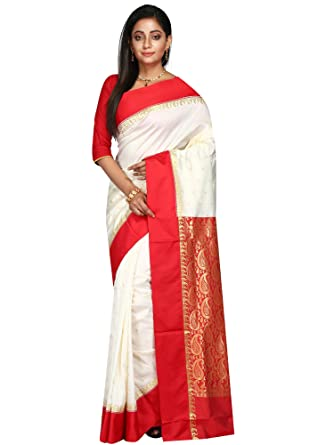 5295bf77d65 B3Fashion Handloom Traditional Bengal Pure Garad Silk Saree (Offwhite ...