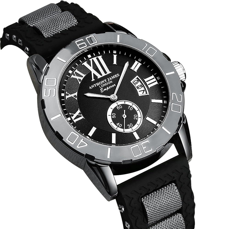 Anthony James Limited Edition Kaiser Herren Sport Armbanduhr mit lebenslanger Garantie - Schwarz Metall GehÄuse - und