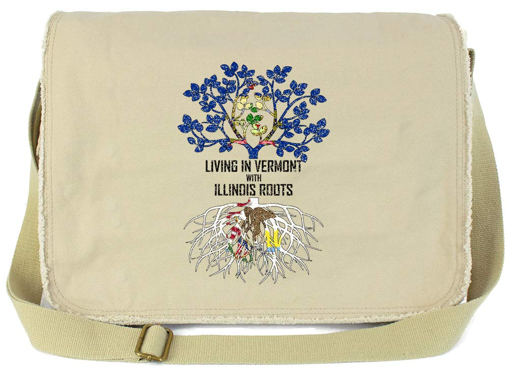 Tenacitee Living In Vermont with Illinois Roots Grey Brushed Canvas Messenger Bag