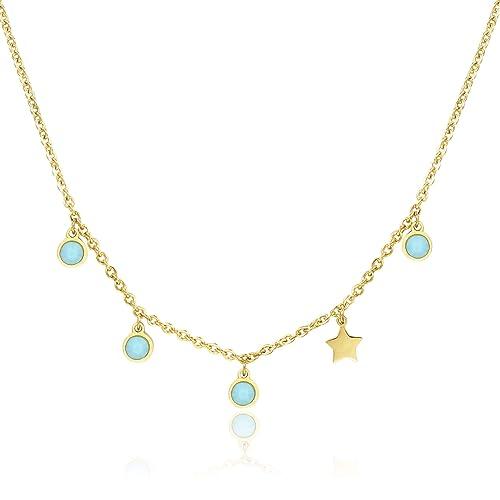 intera collezione ottenere a buon mercato piuttosto bella Sagapo Collana dorata con Stellina e pietre turchese SCE06 ...