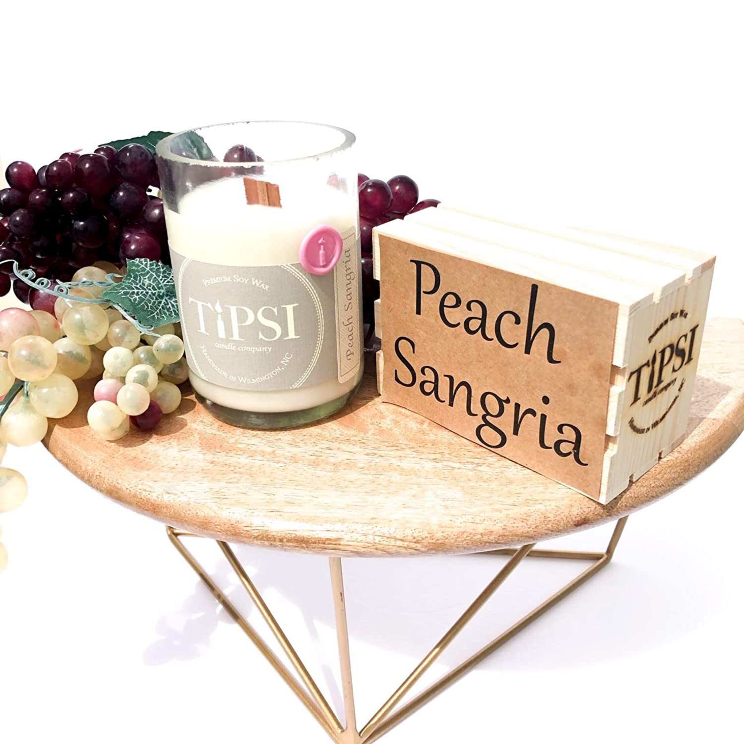 Peach Sangria Wine Bottle Candle with Wooden Wick