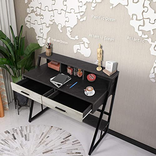 AODAILIHB Modern Home Office Laptop Workstation Writing Desk Secretary Desk Dressing Table Vanity Tbale 2 Drawers Top Compartment Imitation Marble Table Top
