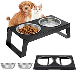 Lewondr Pet Bowls for Dogs and Cats Elevated Metal Food and Water Bowls Non-Slip Pet Dish with Double Bowls Removable Stainless Steel Bowl Set Detachable Feeder No Mess No Spill Non Skid - Black
