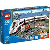 High-Speed Passenger Train Building Toy with 16 Curved Rail Tracks, Train Driver & More