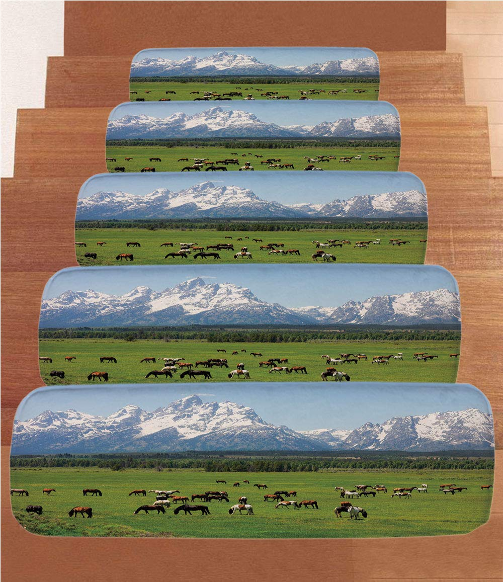 iPrint Non-Slip Carpets Stair Treads,Horse Decor,Grand Teton National Park Snowy Mountains Fresh Greenery Trees Animals Decorative,Green Light Blue,(Set of 5) 8.6''x27.5''
