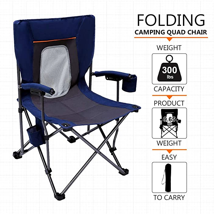 PORTAL Camping Chair Folding Portable Quad Mesh Back with Cup Holder Pocket and Hard Armrest