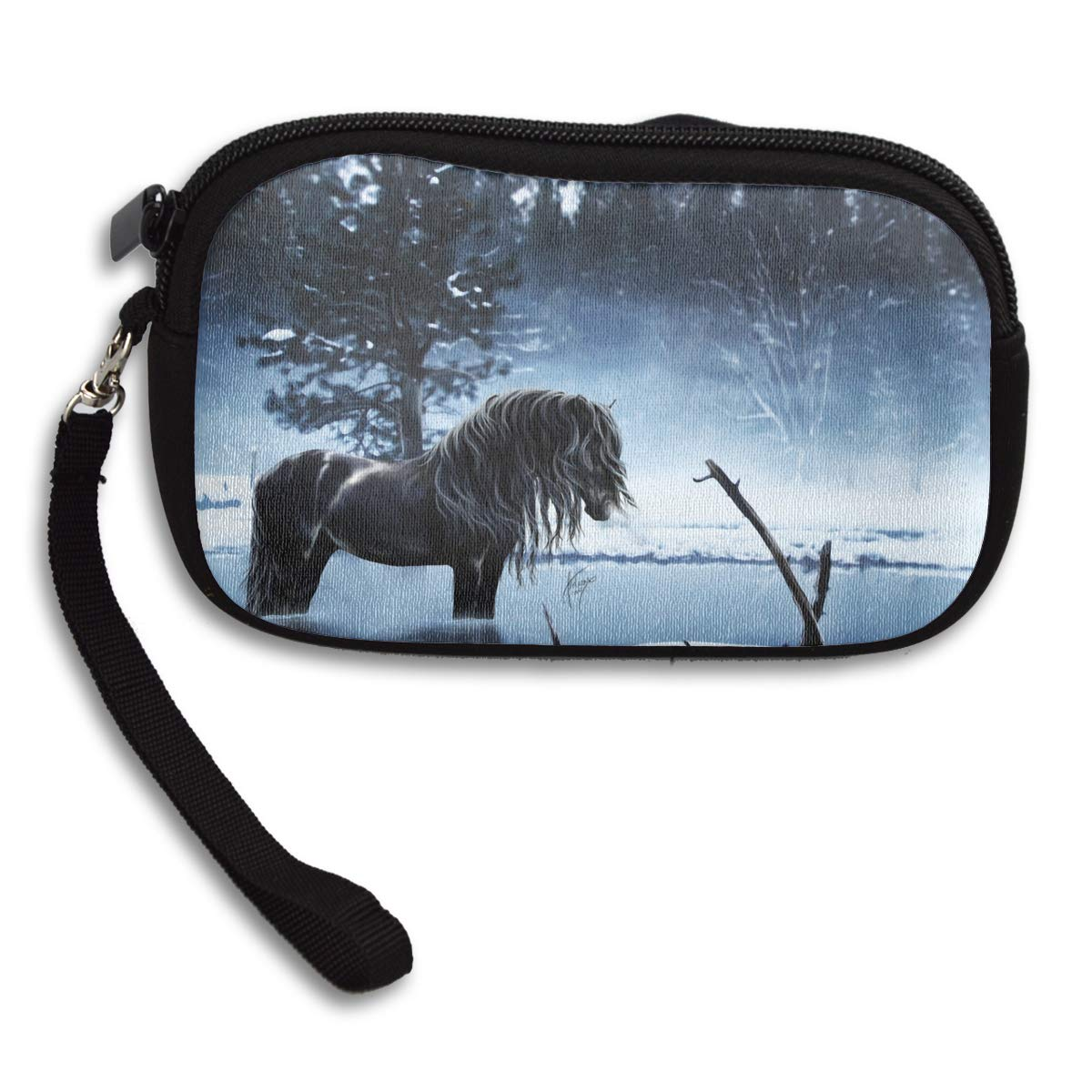 Beautiful Horse In Ice Lake Deluxe Printing Small Purse Portable Receiving Bag