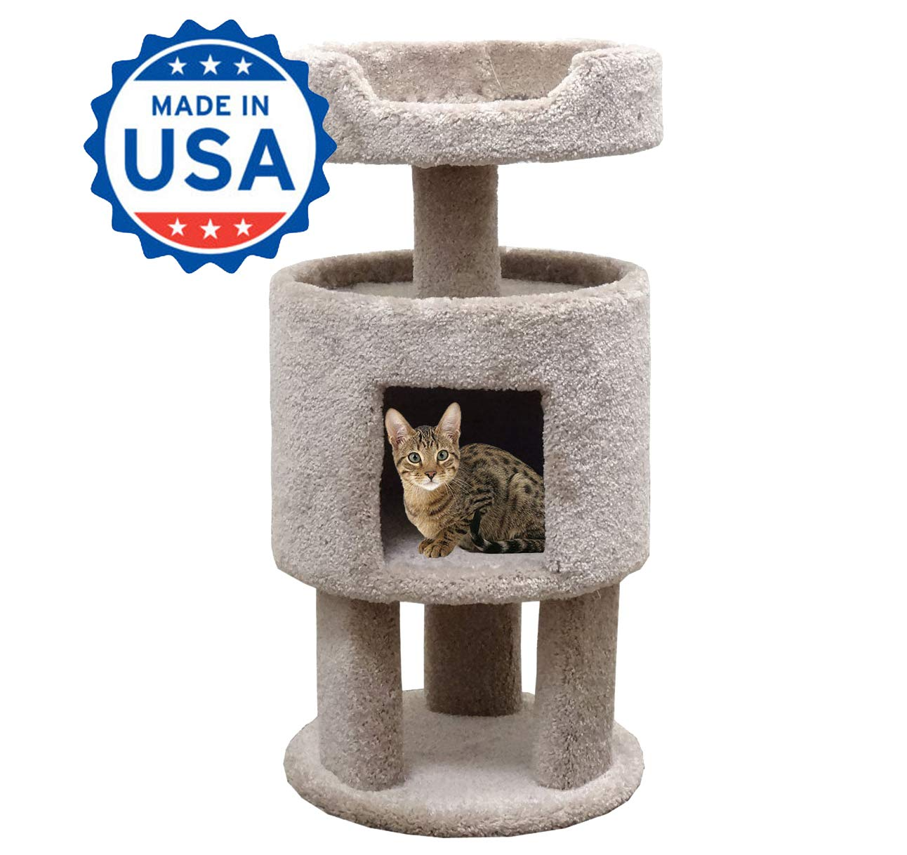 CozyCatFurniture Wood Carpeted Kitty Condo with Perch Cat Condo, Beige Carpet by CozyCatFurniture (Image #1)