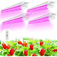 (Pack of 4) SHOPLED LED Grow Lights, Full Spectrum LED 80W(20W x 4), T8 2FT Integrated Fixture Lamp, Linkable Plug and…