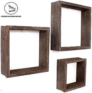 BarnwoodUSA Espresso Rustic Shelves, Square Floating Wood Shadowbox, Home Decor, Set of 3