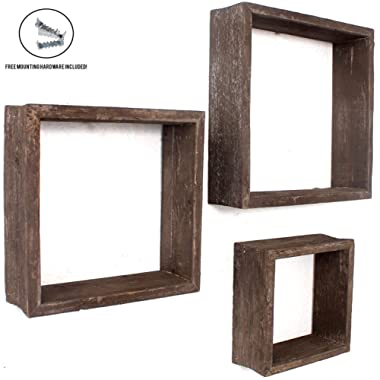 BarnwoodUSA Espresso Rustic Shelves, Square Floating Wood Shadowbox, Home Decor, Set of 3