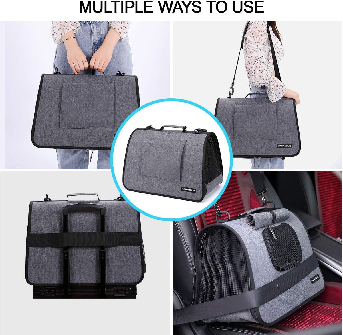 Portable Pet Travel Bag for Cats /&Small Dogs NNA Foldable Pet Carrier Waterproof Pet Cage with Locking Safety Zippers