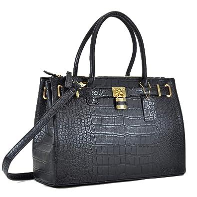 Amazon.com  Dasein Women Handbags Padlock Satchel Tote Purse Padlock Top  Handle Bag (Black)  Shoes de0fd155f5b84