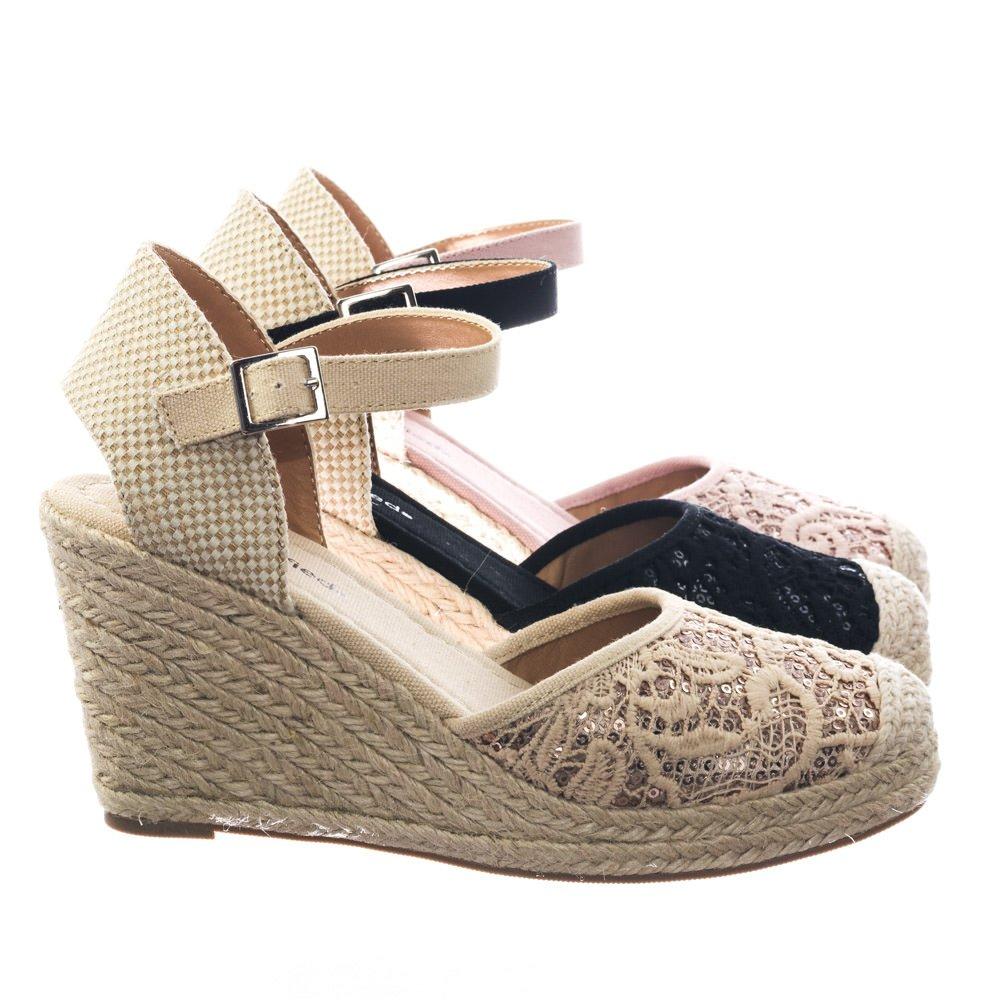 City Classified Espadrille Platform Wedge w Floral Crochet Lace w Sequins Shoes