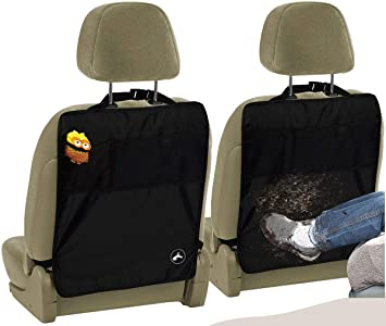 2 Pack Premium Waterproof Seat Back Protectors - Car Kick Mats with Odor Free