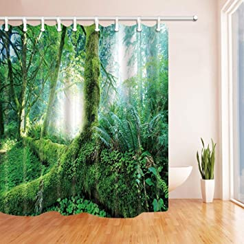 ATJSC Tropical Rainforest Shower Curtains For Bathroom Green Palm Leaves In The Jungle Polyester