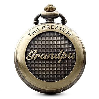 Reloj de bolsillo de bronce estilo antiguo de Gorben, para el abuelo, de cuarzo y con cadena, incluye estuche: Amazon.es: Relojes