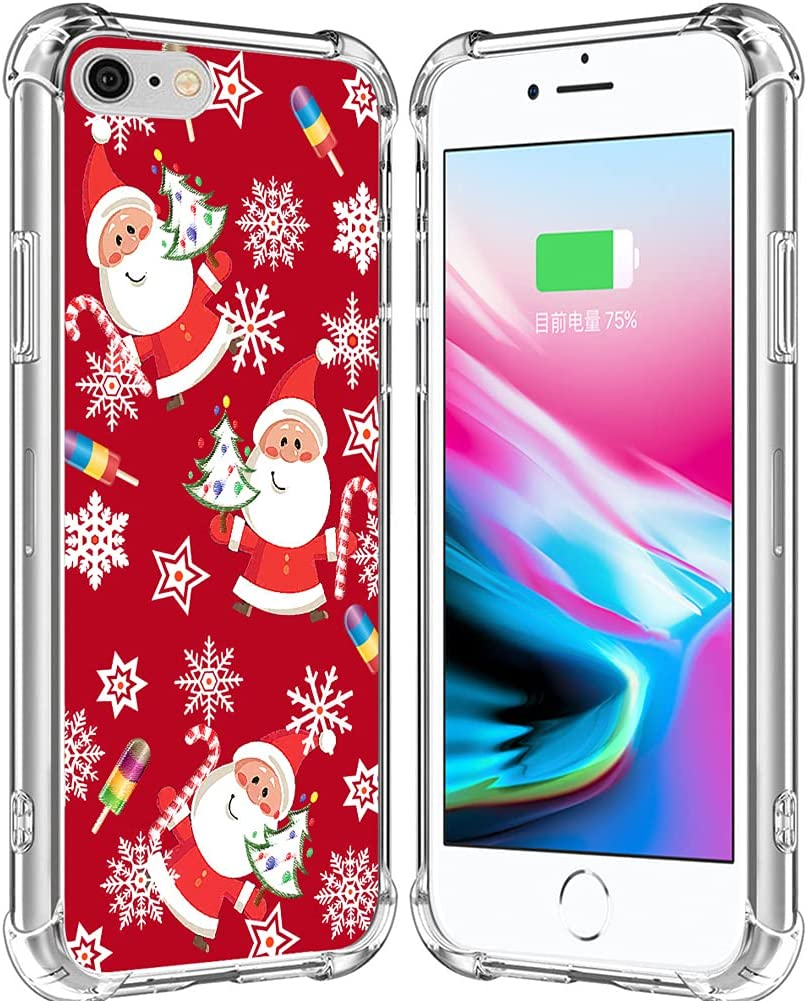 Case for iPhone SE 2020 & 8 & 7 Christmas Santa/IWONE Rubber Durable Protective Skin Cover Patterned Compatible with iPhone 7/8/SE 2 Christmas Theme Design Cute Scene Story Gift Present Tree Snow