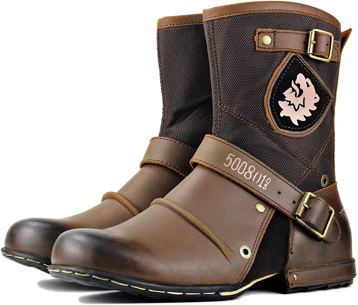 OSSTONE Moto Boots for Men Fashion Zipper-up Leather Chukka Boots Casual Shoes OS-5008-7