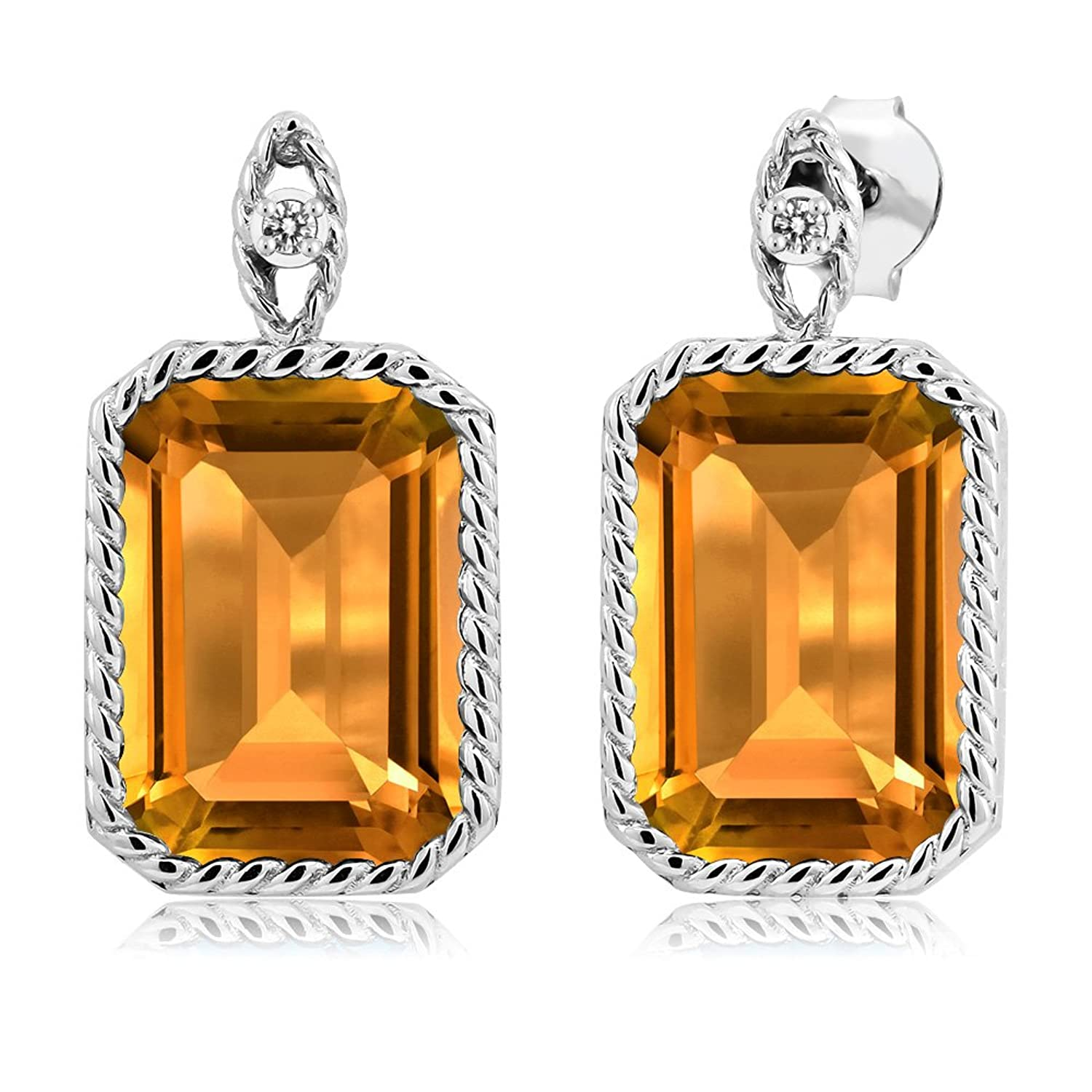 16.43 Ct Octagon Yellow Citrine White Diamond 925 Sterling Silver Earrings