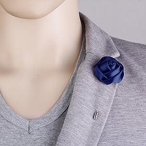 Elegante Flor De Satén Hombres Mujeres Collar Piercing Boutonniere ...