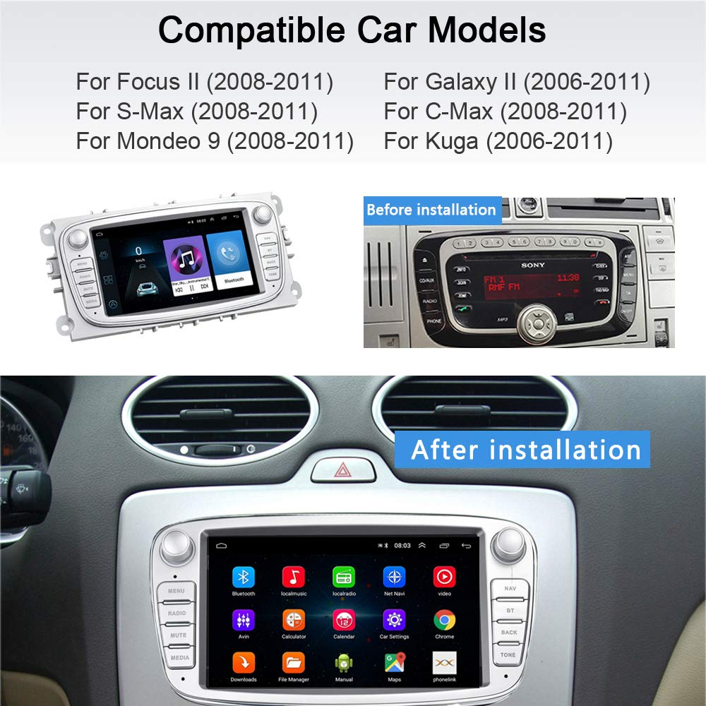 Android Car Radio for Ford GPS Navigation CAMECHO 7 Inch Capacitive Touch Screen Car Stereo Player WIFI Bluetooth FM Receiver Dual USB for Ford Focus Mondeo C-MAX S-MAX Galaxy II Kuga Silver