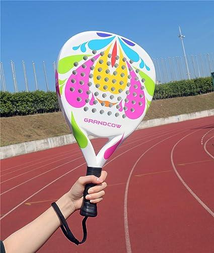 Amazon.com : GRANDCOW Beach Paddle/Padel Tennis Racket Carbon Fiber Surface with EVA Memory Flex Foam Core Diamond Shape POP Tennis Paddle Rackets (Flower ...