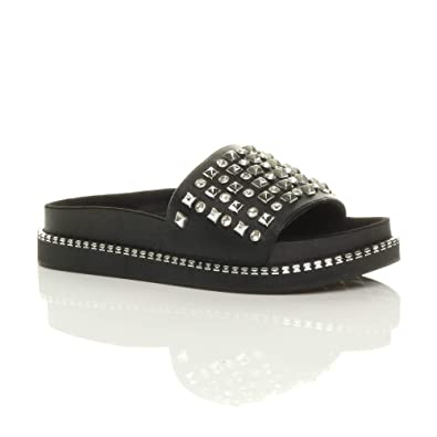 525100d3e Womens Ladies Stylish Flat Chunky Flatform Platform Studded Diamante Slip  On Sliders Slippers Sandals Fashion Shoes Casual Flip Flops New Summer  Shoes Size ...