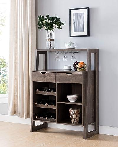 182282 Mid Century Modern Wine Bar Cabinet Walnut Oak Color 34 Inch Wine Rack Organizer
