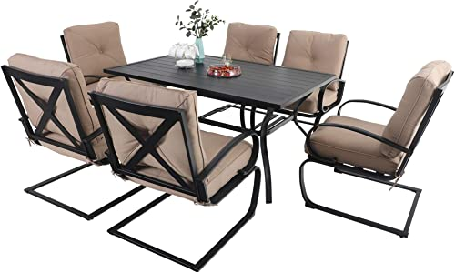 MFSTUDIO 7 Piece Outdoor Patio Dining Set 6 Spring Motion Cushion Chair