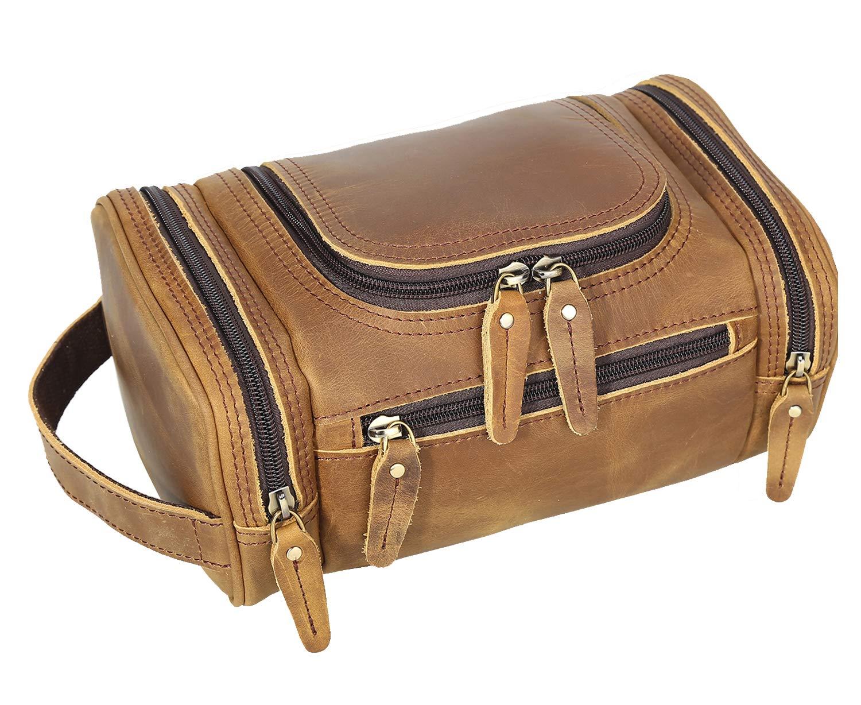 Polare Toiletry Bag Full Grain Leather Shaving Kit Dopp Kit Travel Case Wash Bag with YKK Zippers