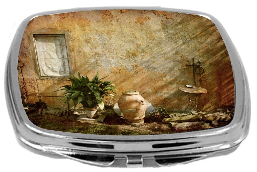 Rikki Knight Compact Mirror, Country Garden Tuscany with Plant