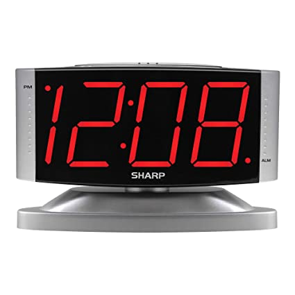 SHARP Home LED Digital Alarm Clock – Swivel Base - Outlet Powered, Simple  Operation, Alarm, Snooze, Brightness Dimmer, Big Red Digit Display, Silver