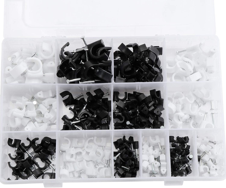 Coolty 600 clips redondos para cables 7 mm surtido de 4 mm 5 mm 6 mm TV u otro cable 10 mm 8 mm color blanco y negro 12 mm para cable de clavo para cable Ethernet cable de tel/éfono