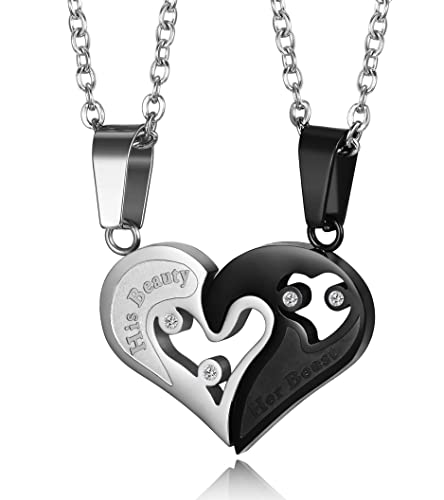 fd8e0a3b2f Thunaraz Stainless Steel Mens Womens Couple Necklace Heart Necklace ...